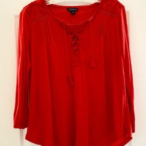 Lucky Red Peasant Top L